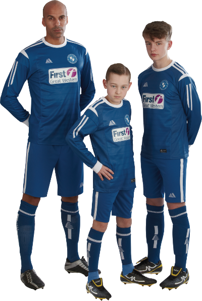 Three players in royal blue and white Spartak kit